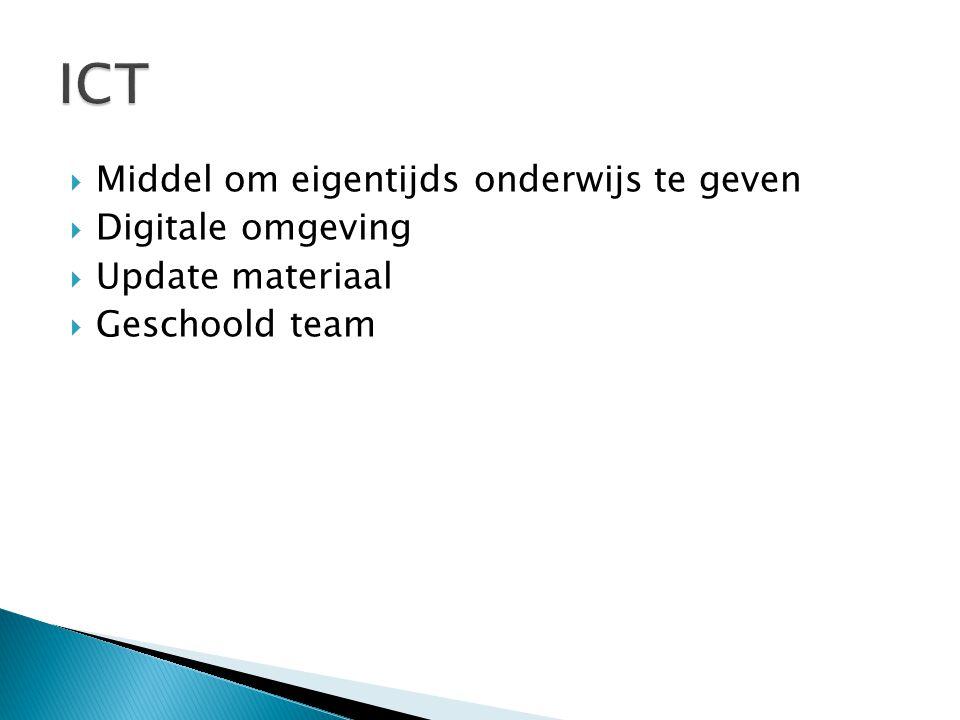  Middel om eigentijds onderwijs te geven  Digitale omgeving  Update materiaal  Geschoold team