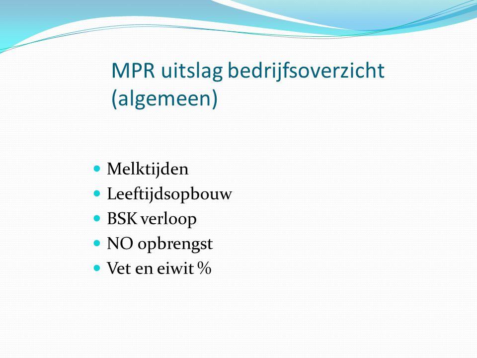 MPR uitslag bedrijfsoverzicht (algemeen) Melktijden Leeftijdsopbouw BSK verloop NO opbrengst Vet en eiwit %
