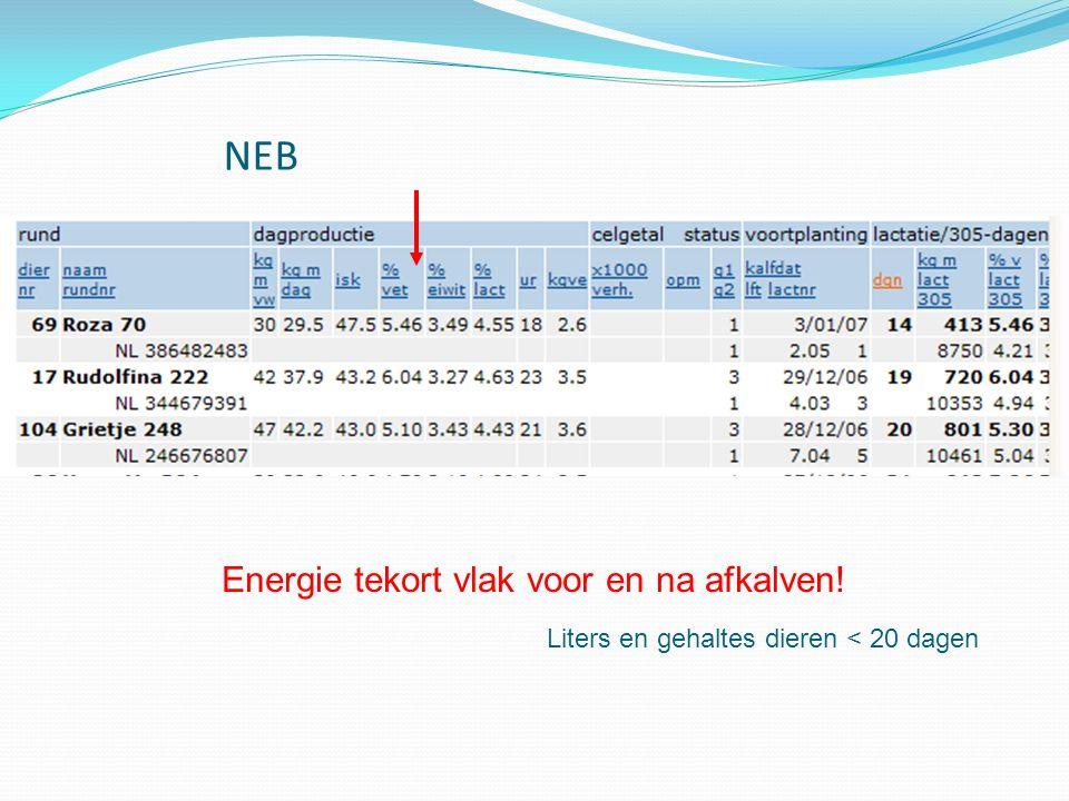 NEB Energie tekort vlak voor en na afkalven! Liters en gehaltes dieren < 20 dagen