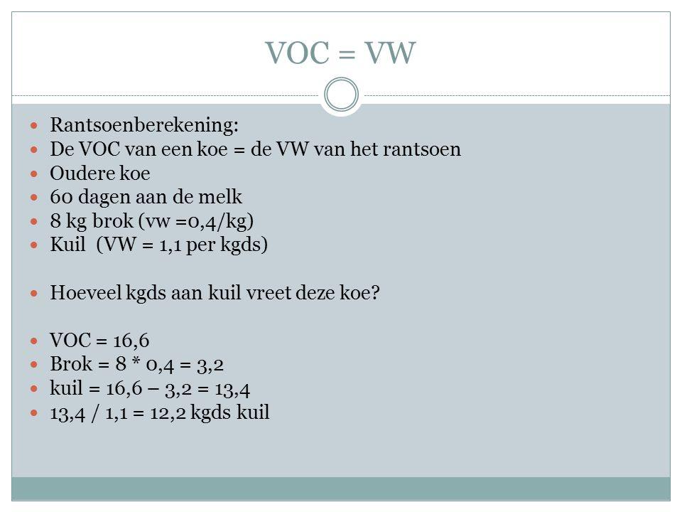 VOC = VW Rantsoenberekening: De VOC van een koe = de VW van het rantsoen Oudere koe 60 dagen aan de melk 8 kg brok (vw =0,4/kg) Kuil (VW = 1,1 per kgd