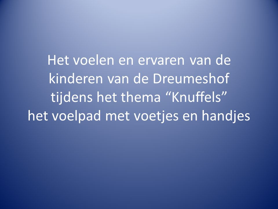 Het voelen en ervaren van de kinderen van de Dreumeshof tijdens het thema Knuffels het voelpad met voetjes en handjes