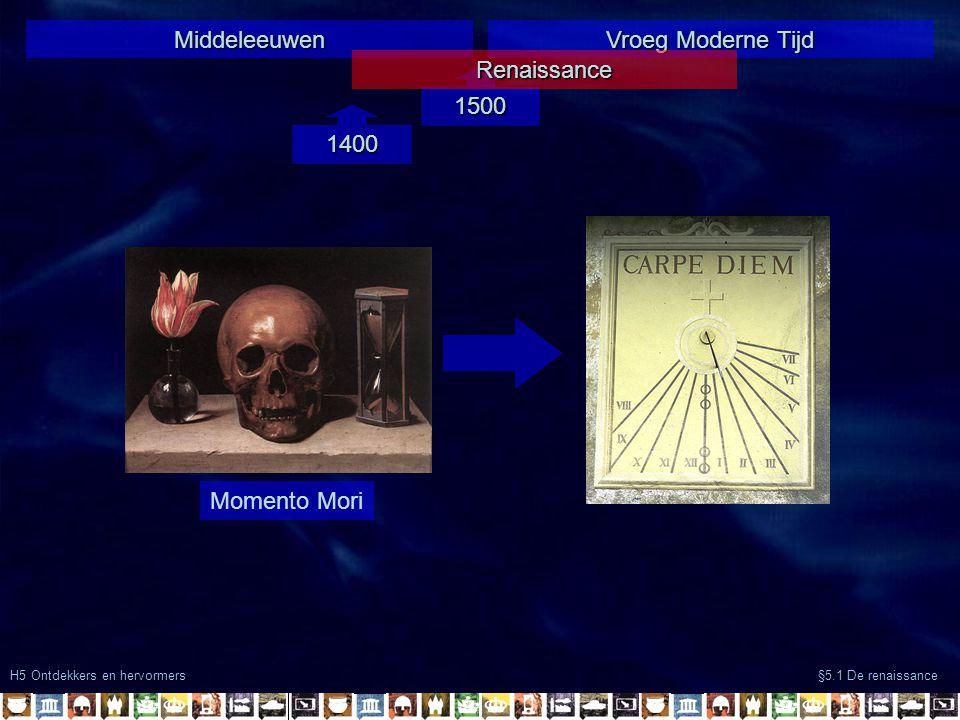 H5 Ontdekkers en hervormers §5.1 De renaissance Momento Mori Middeleeuwen Vroeg Moderne Tijd 1500 Renaissance 1400