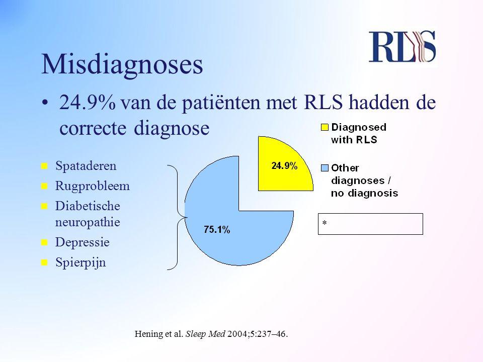 Misdiagnoses 24.9% van de patiënten met RLS hadden de correcte diagnose Hening et al. Sleep Med 2004;5:237–46. * n Spataderen n Rugprobleem n Diabetis