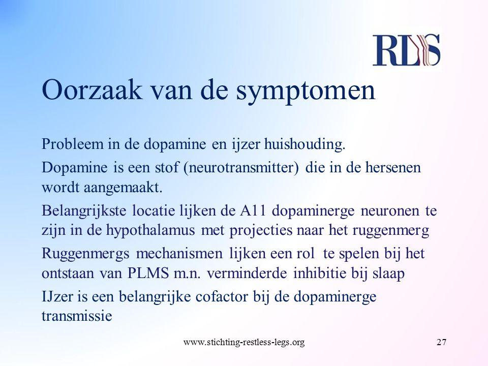 Oorzaak van de symptomen Probleem in de dopamine en ijzer huishouding. Dopamine is een stof (neurotransmitter) die in de hersenen wordt aangemaakt. Be