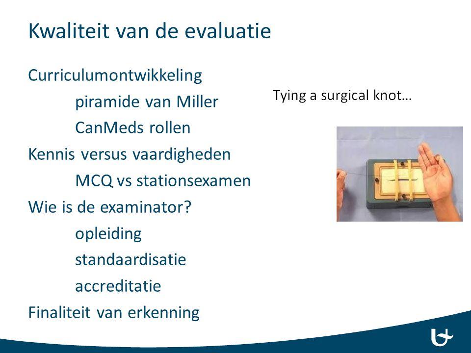 Kwaliteit van de evaluatie Curriculumontwikkeling piramide van Miller CanMeds rollen Kennis versus vaardigheden MCQ vs stationsexamen Wie is de examinator.