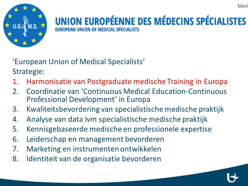 'European Union of Medical Specialists' Strategie: 1.Harmonisatie van Postgraduate medische Training in Europa 2.Coordinatie van 'Continuous Medical E