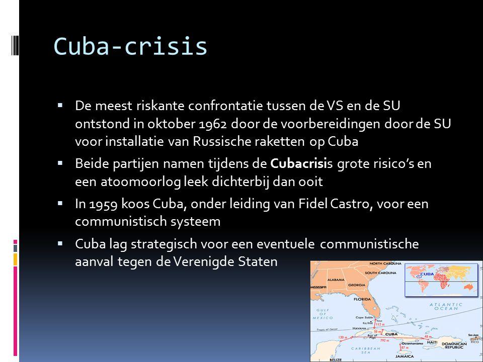 Cuba-crisis  De meest riskante confrontatie tussen de VS en de SU ontstond in oktober 1962 door de voorbereidingen door de SU voor installatie van Ru