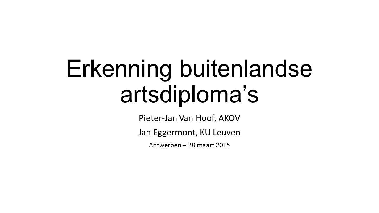 Erkenning buitenlandse artsdiploma's Pieter-Jan Van Hoof, AKOV Jan Eggermont, KU Leuven Antwerpen – 28 maart 2015