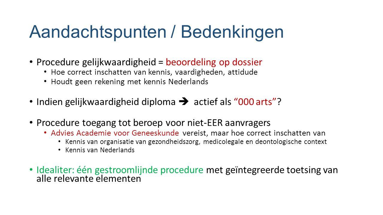 Aandachtspunten / Bedenkingen Procedure gelijkwaardigheid = beoordeling op dossier Hoe correct inschatten van kennis, vaardigheden, attidude Houdt geen rekening met kennis Nederlands Indien gelijkwaardigheid diploma  actief als 000 arts .