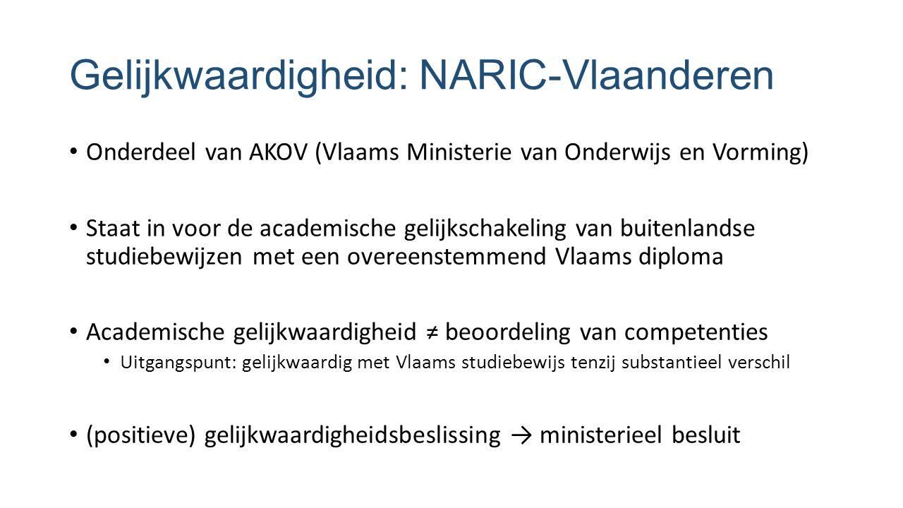 Gelijkwaardigheid: NARIC-Vlaanderen Onderdeel van AKOV (Vlaams Ministerie van Onderwijs en Vorming) Staat in voor de academische gelijkschakeling van