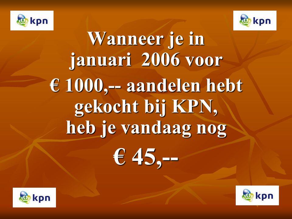 Wanneer je in januari 2006 voor € 1000,-- aandelen hebt gekocht bij KPN, heb je vandaag nog € 45,--