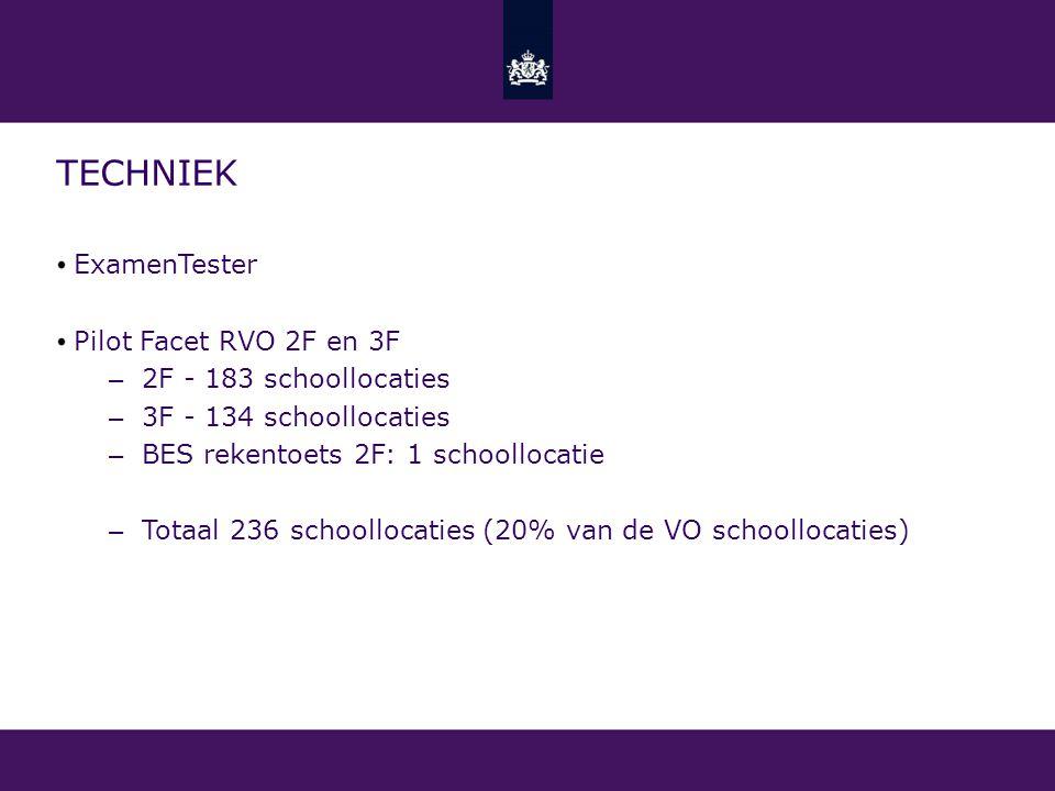 TECHNIEK ExamenTester Pilot Facet RVO 2F en 3F – 2F - 183 schoollocaties – 3F - 134 schoollocaties – BES rekentoets 2F: 1 schoollocatie – Totaal 236 s