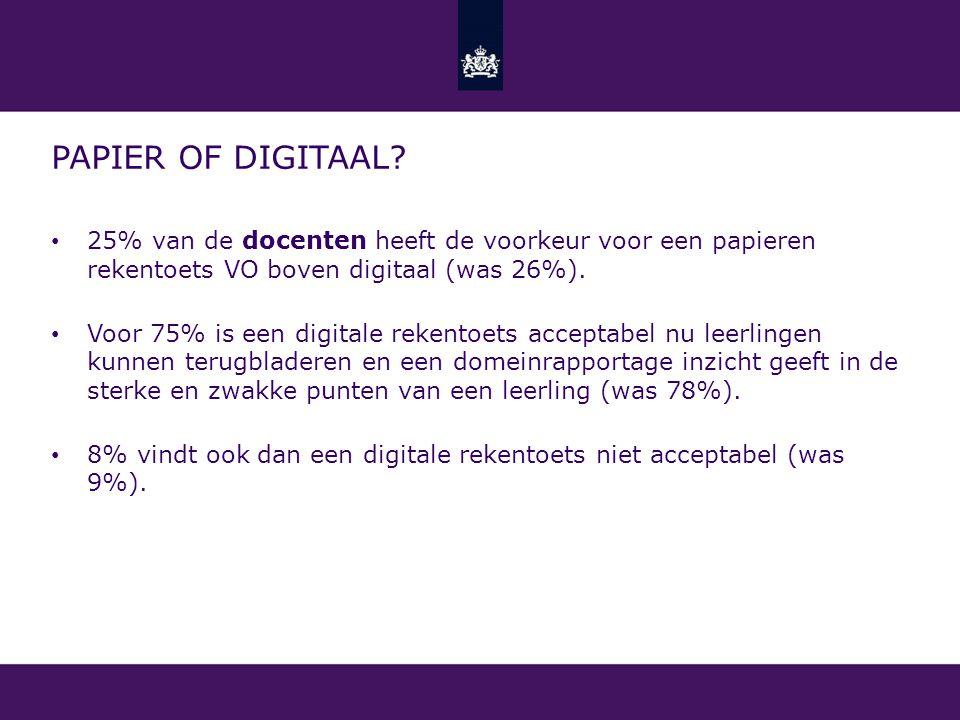 PAPIER OF DIGITAAL? 25% van de docenten heeft de voorkeur voor een papieren rekentoets VO boven digitaal (was 26%). Voor 75% is een digitale rekentoet