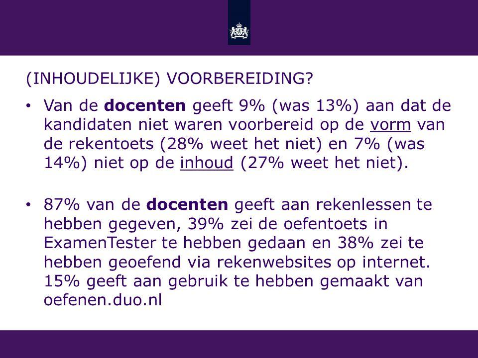 (INHOUDELIJKE) VOORBEREIDING? Van de docenten geeft 9% (was 13%) aan dat de kandidaten niet waren voorbereid op de vorm van de rekentoets (28% weet he