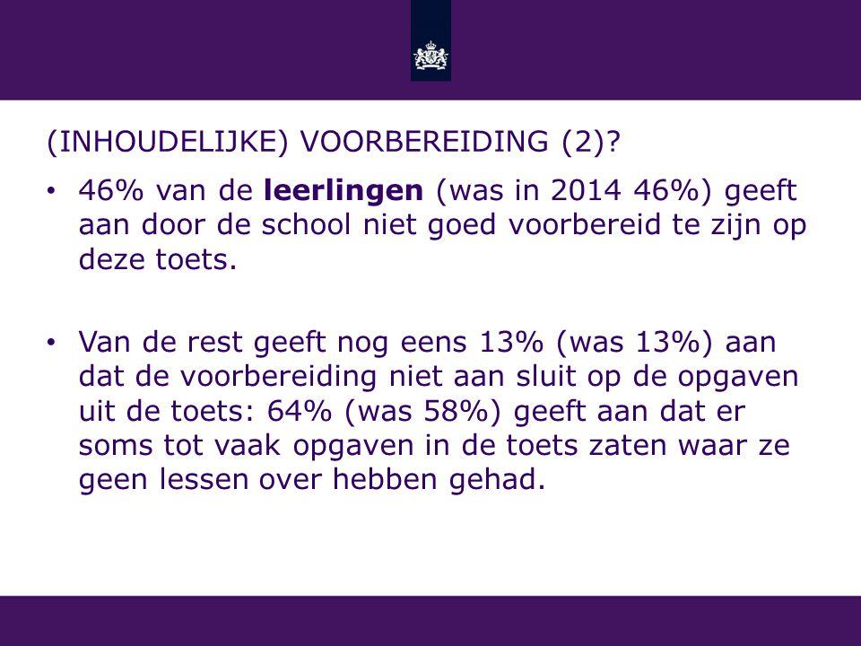 (INHOUDELIJKE) VOORBEREIDING (2)? 46% van de leerlingen (was in 2014 46%) geeft aan door de school niet goed voorbereid te zijn op deze toets. Van de