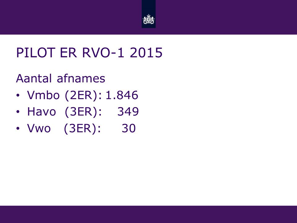 PILOT ER RVO-1 2015 Aantal afnames Vmbo (2ER):1.846 Havo (3ER): 349 Vwo (3ER): 30
