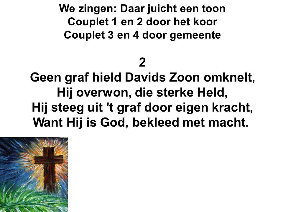 We zingen: Daar juicht een toon Couplet 1 en 2 door het koor Couplet 3 en 4 door gemeente 2 Geen graf hield Davids Zoon omknelt, Hij overwon, die ster