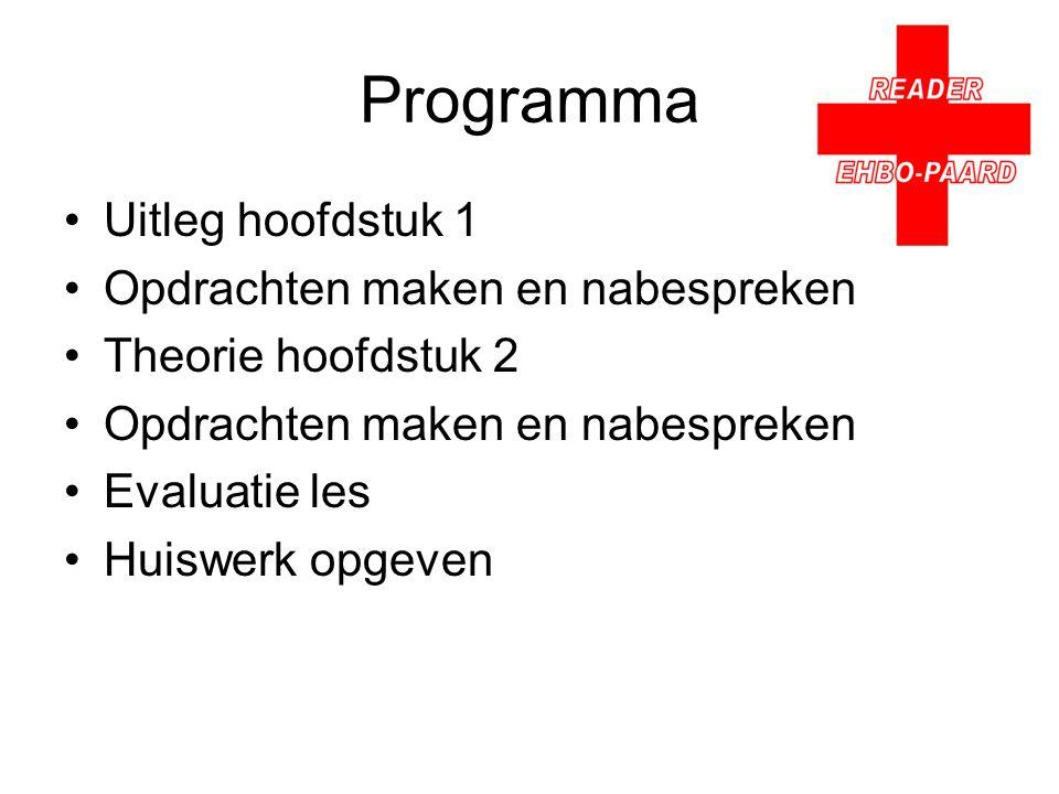 Programma Uitleg hoofdstuk 1 Opdrachten maken en nabespreken Theorie hoofdstuk 2 Opdrachten maken en nabespreken Evaluatie les Huiswerk opgeven