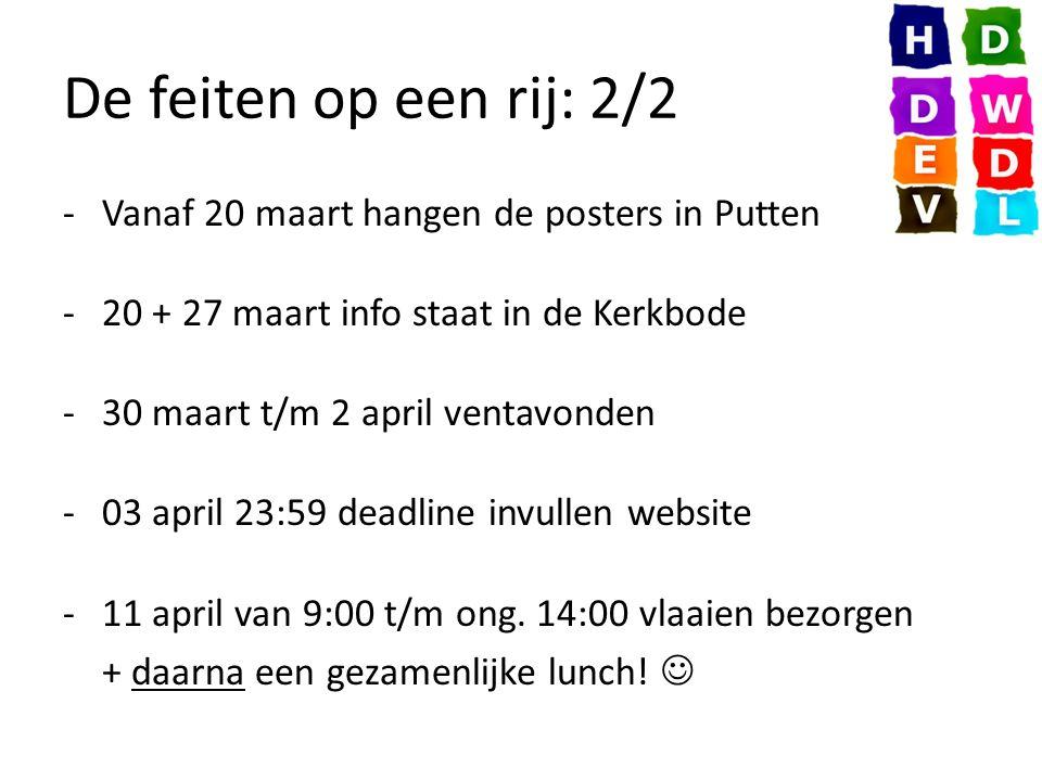 De feiten op een rij: 2/2 -Vanaf 20 maart hangen de posters in Putten -20 + 27 maart info staat in de Kerkbode -30 maart t/m 2 april ventavonden -03 april 23:59 deadline invullen website -11 april van 9:00 t/m ong.