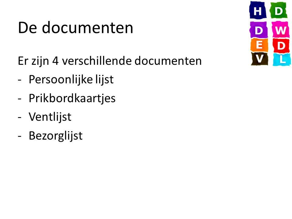 De documenten Er zijn 4 verschillende documenten -Persoonlijke lijst -Prikbordkaartjes -Ventlijst -Bezorglijst
