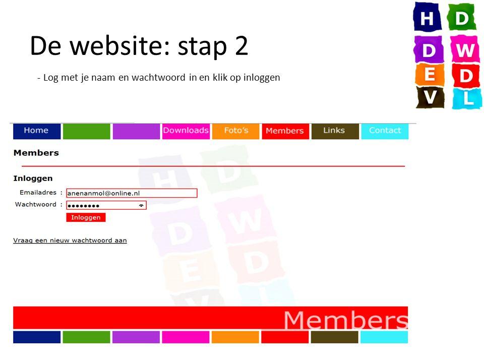 De website: stap 2 - Log met je naam en wachtwoord in en klik op inloggen