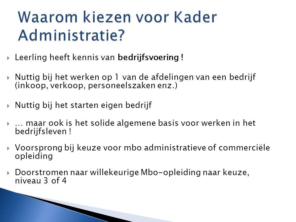  Leerling heeft kennis van bedrijfsvoering !  Nuttig bij het werken op 1 van de afdelingen van een bedrijf (inkoop, verkoop, personeelszaken enz.) 