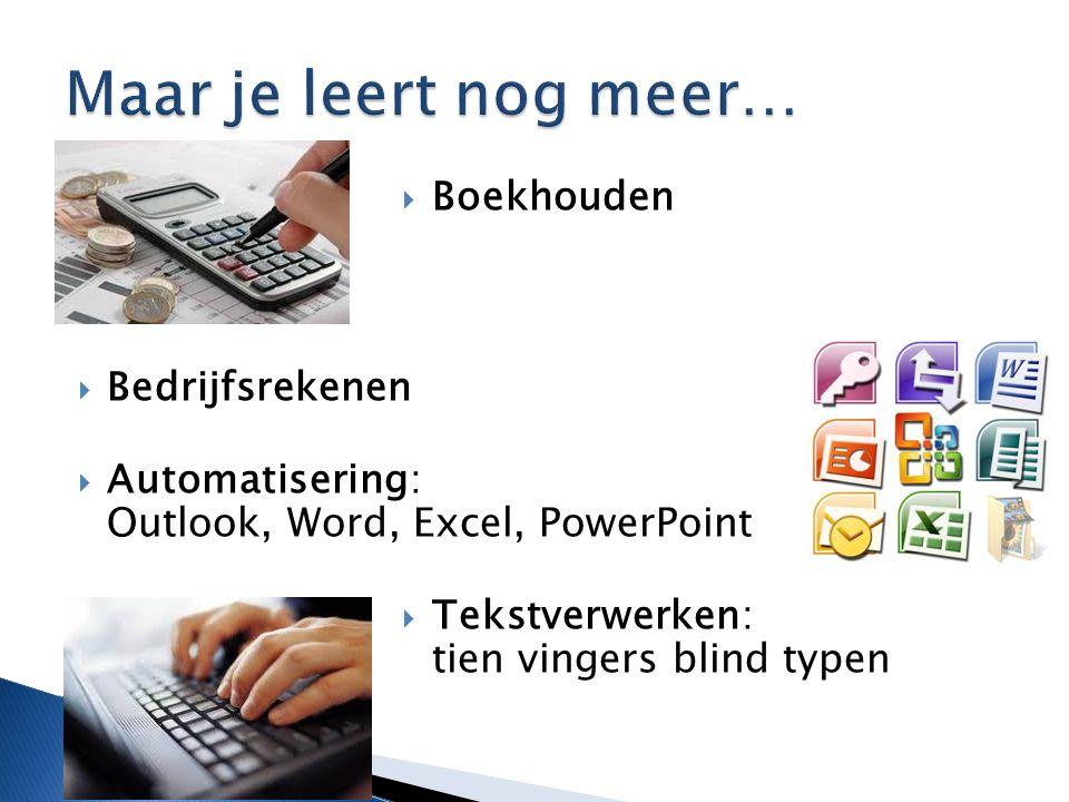  Boekhouden  Bedrijfsrekenen  Automatisering: Outlook, Word, Excel, PowerPoint  Tekstverwerken: tien vingers blind typen
