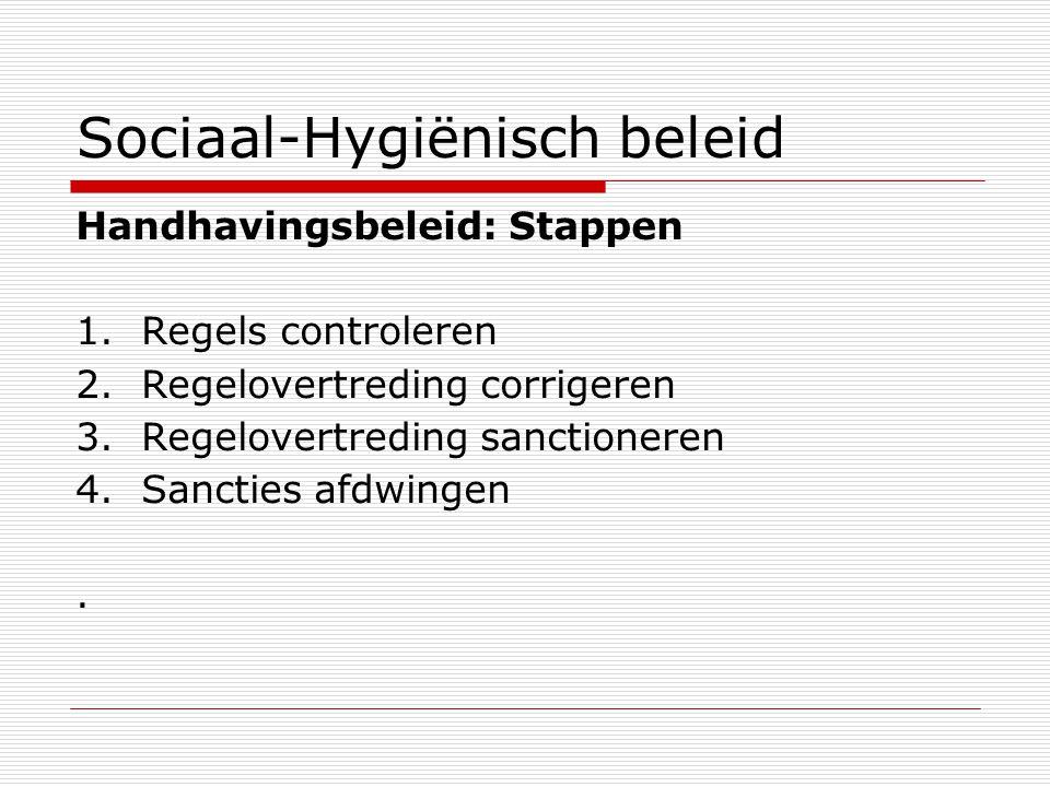 Sociaal-Hygiënisch beleid Handhavingsbeleid: Stappen 1.Regels controleren 2.Regelovertreding corrigeren 3.Regelovertreding sanctioneren 4.Sancties afdwingen.