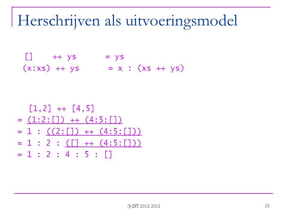 Herschrijven als uitvoeringsmodel [] ++ ys = ys (x:xs) ++ ys = x : (xs ++ ys) [1,2] ++ [4,5] = (1:2:[]) ++ (4:5:[]) = 1 : ((2:[]) ++ (4:5:[])) = 1 : 2 : ([] ++ (4:5:[])) = 1 : 2 : 4 : 5 : [] (S)DT 2012-2013 35