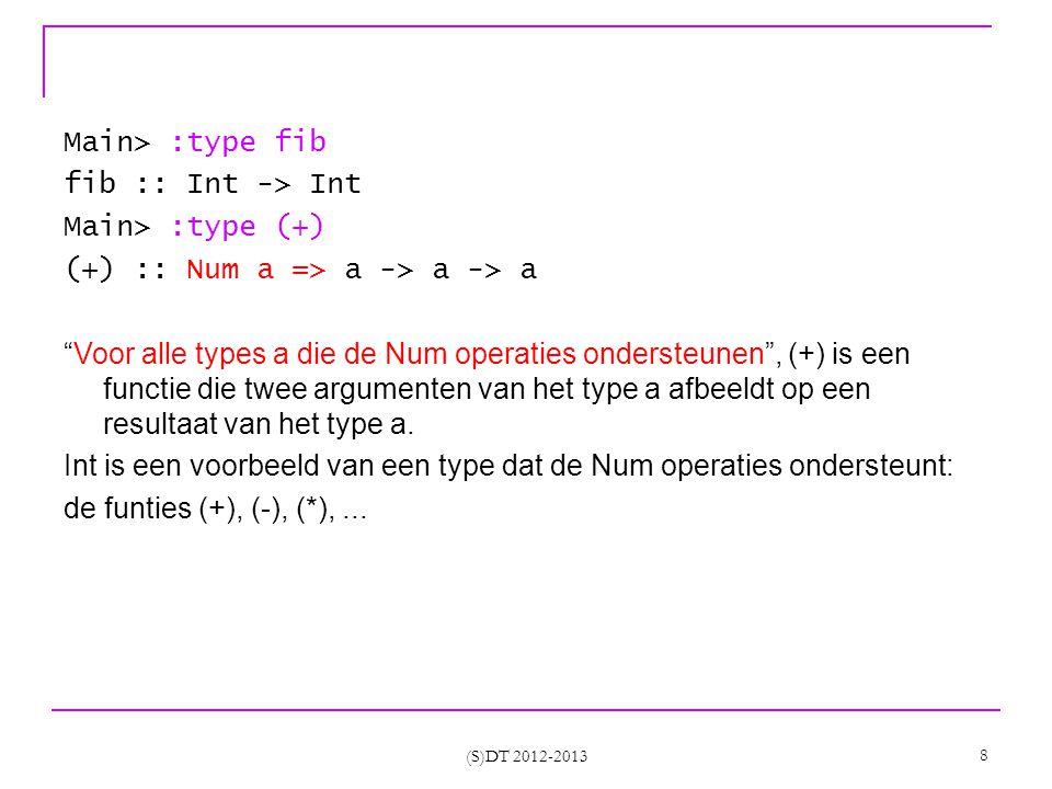 (S)DT 2012-2013 29 Where clauses fib :: Int -> Int fib n = fib2 n 1 0 where fib2 0 n _ = n fib2 i n m = fib2 (i-1) (m+n) n fib2 is lokaal aan fib (clause die er juist voor staat) fib2 is elders niet zichtbaar fib2 heeft geen type declaratie genest gebruik van syntax mogelijk