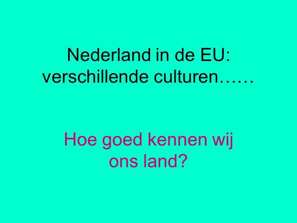 Nederland in de EU: verschillende culturen…… Hoe goed kennen wij ons land?
