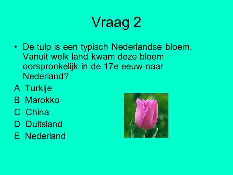 Vraag 2 De tulp is een typisch Nederlandse bloem. Vanuit welk land kwam deze bloem oorspronkelijk in de 17e eeuw naar Nederland? A Turkije B Marokko C
