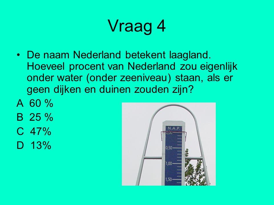 Vraag 4 De naam Nederland betekent laagland. Hoeveel procent van Nederland zou eigenlijk onder water (onder zeeniveau) staan, als er geen dijken en du