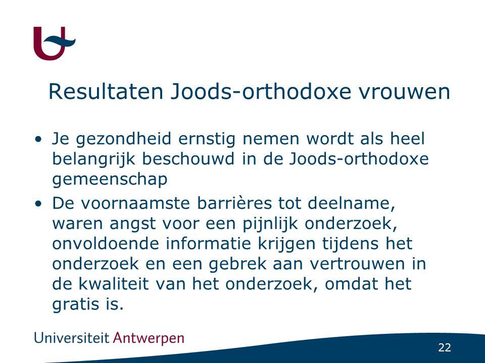 22 Resultaten Joods-orthodoxe vrouwen Je gezondheid ernstig nemen wordt als heel belangrijk beschouwd in de Joods-orthodoxe gemeenschap De voornaamste