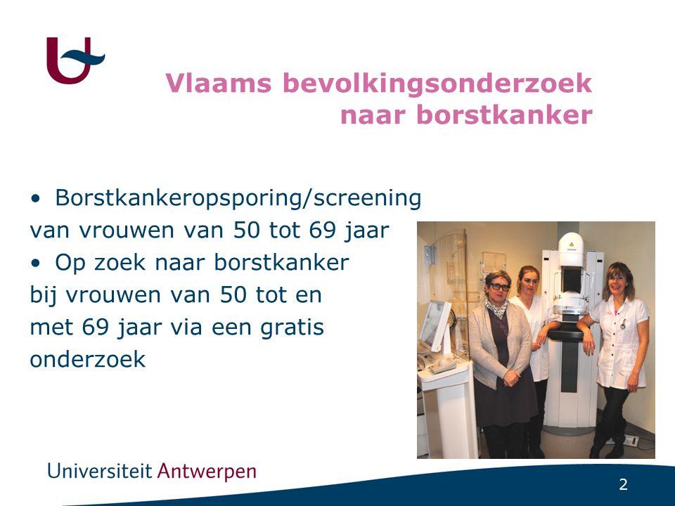 2 Vlaams bevolkingsonderzoek naar borstkanker Borstkankeropsporing/screening van vrouwen van 50 tot 69 jaar Op zoek naar borstkanker bij vrouwen van 5