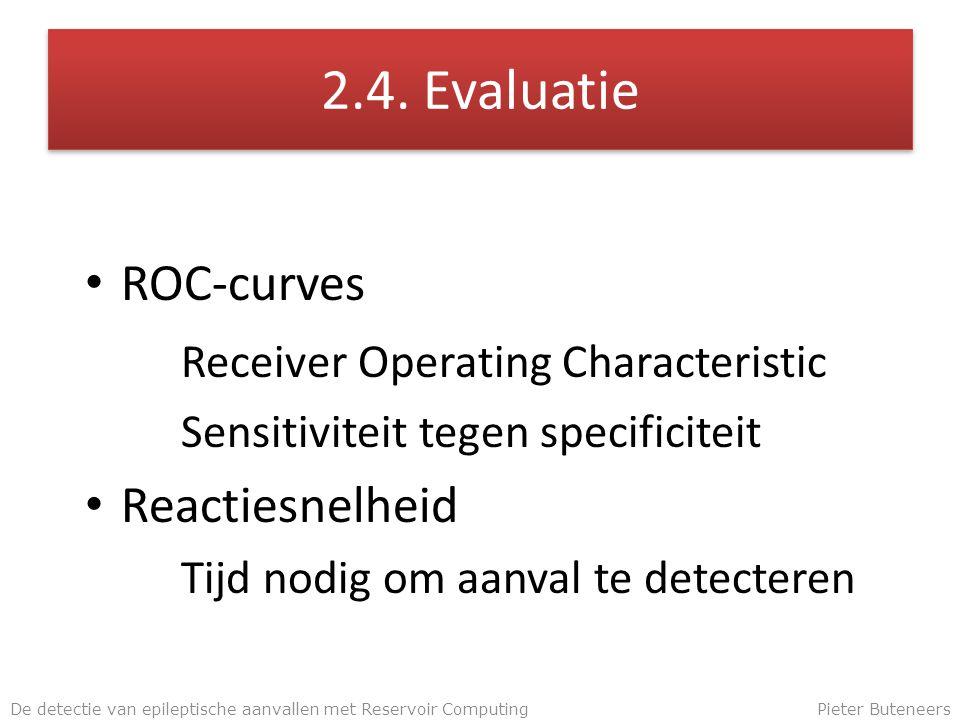 2.4. Evaluatie ROC-curves Receiver Operating Characteristic Sensitiviteit tegen specificiteit Reactiesnelheid Tijd nodig om aanval te detecteren De de
