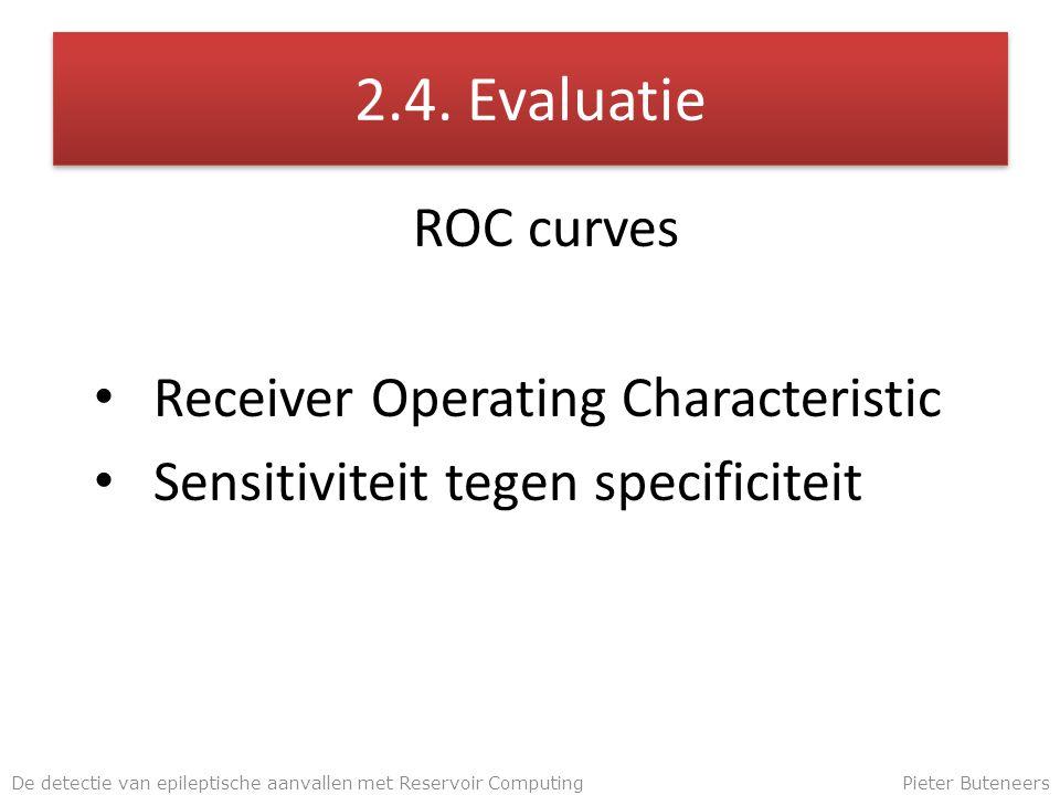 2.4. Evaluatie ROC curves Receiver Operating Characteristic Sensitiviteit tegen specificiteit De detectie van epileptische aanvallen met Reservoir Com