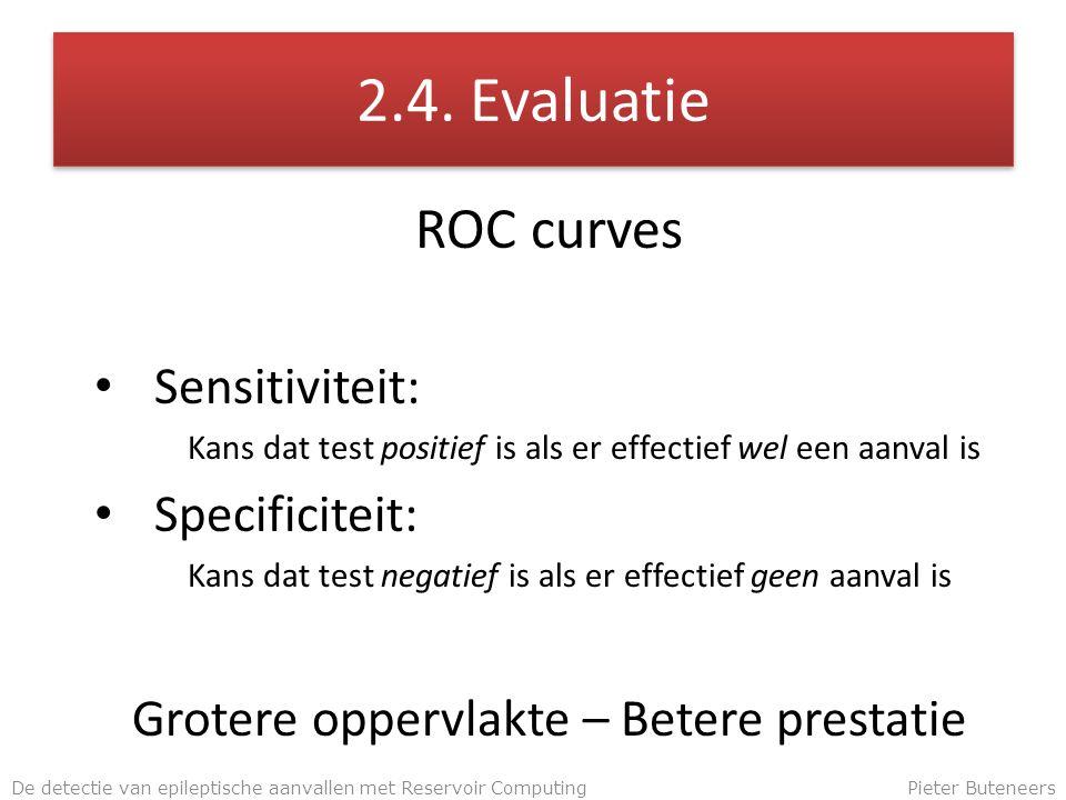2.4. Evaluatie ROC curves Sensitiviteit: Kans dat test positief is als er effectief wel een aanval is Specificiteit: Kans dat test negatief is als er