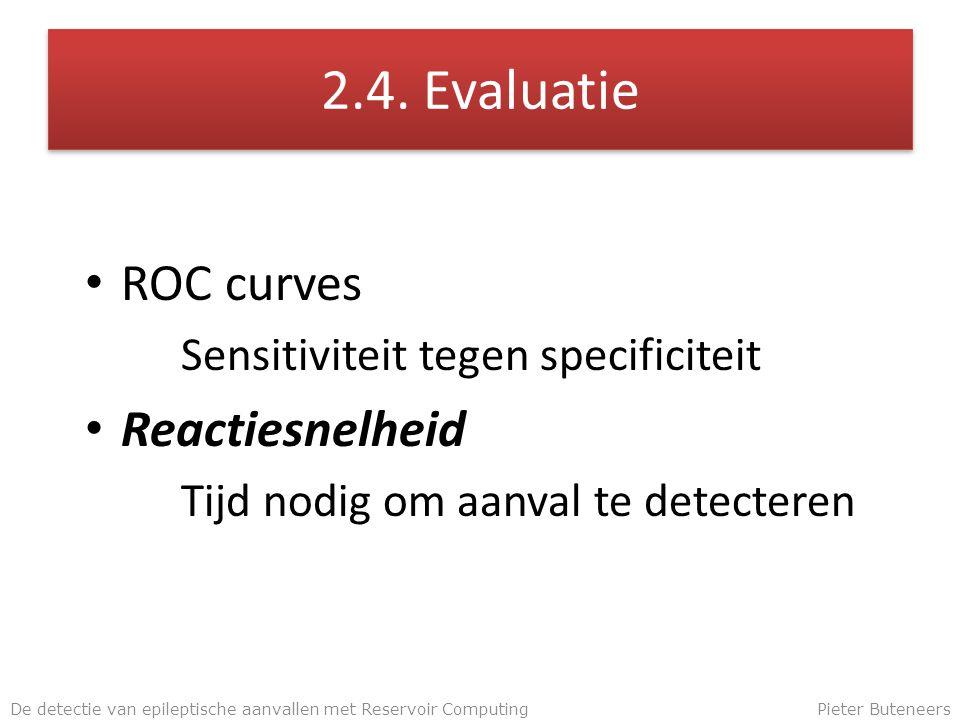 2.4. Evaluatie ROC curves Sensitiviteit tegen specificiteit Reactiesnelheid Tijd nodig om aanval te detecteren De detectie van epileptische aanvallen
