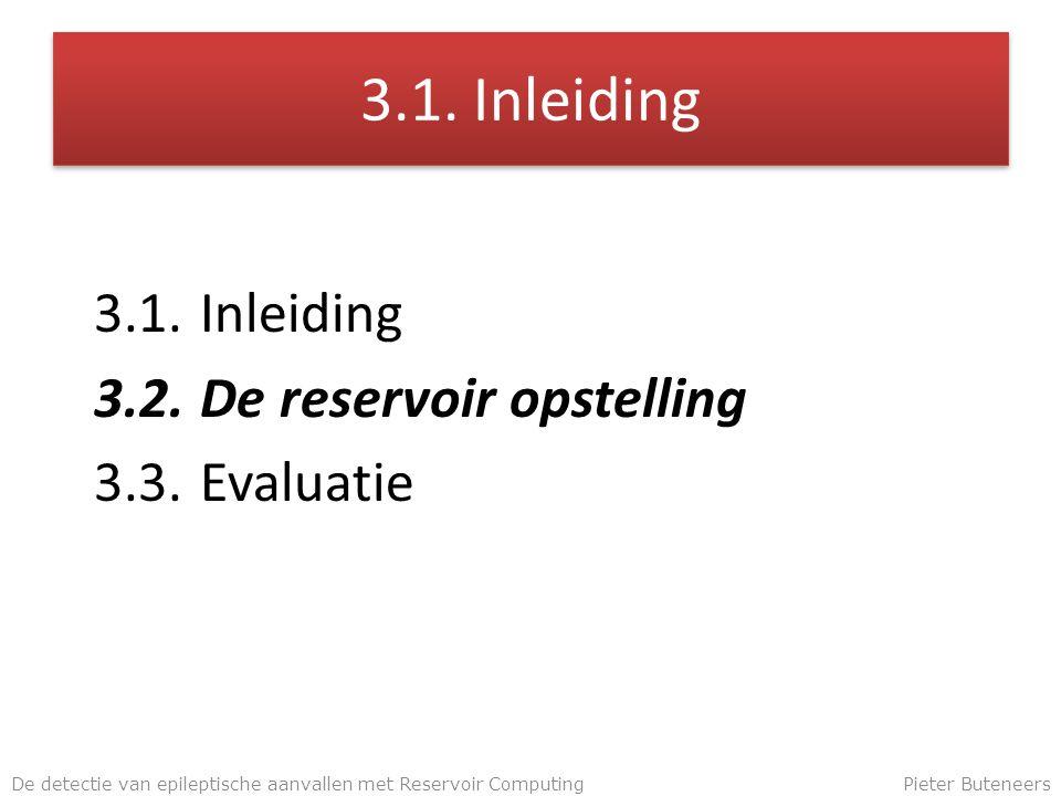 3.1. Inleiding 3.2.De reservoir opstelling 3.3.Evaluatie De detectie van epileptische aanvallen met Reservoir ComputingPieter Buteneers