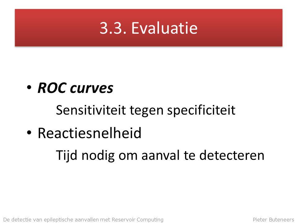 3.3. Evaluatie ROC curves Sensitiviteit tegen specificiteit Reactiesnelheid Tijd nodig om aanval te detecteren De detectie van epileptische aanvallen