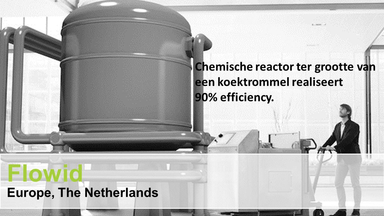 Chemische reactor ter grootte van een koektrommel realiseert 90% efficiency. Flowid Europe, The Netherlands