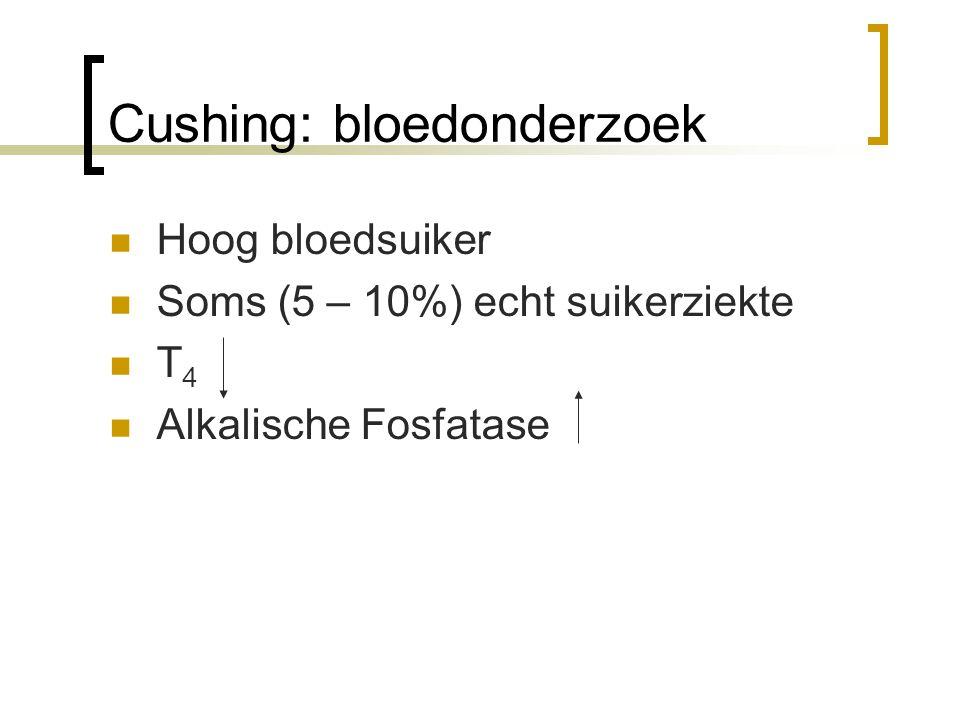 Cushing: bloedonderzoek Hoog bloedsuiker Soms (5 – 10%) echt suikerziekte T 4 Alkalische Fosfatase (>65˚C)