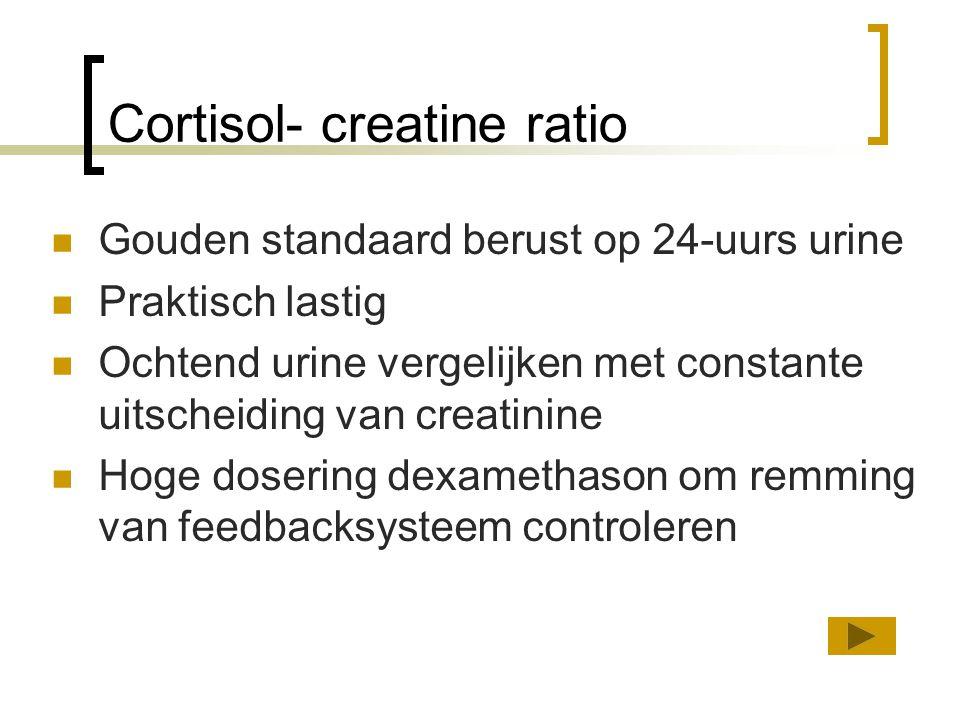 Cortisol- creatine ratio Gouden standaard berust op 24-uurs urine Praktisch lastig Ochtend urine vergelijken met constante uitscheiding van creatinine