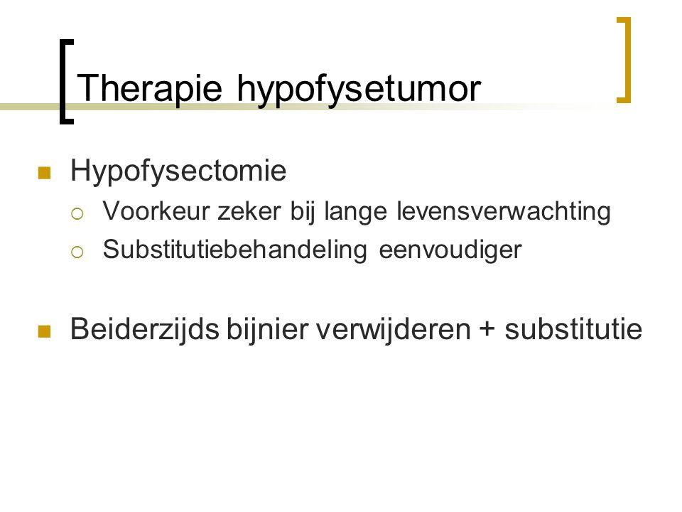 Therapie hypofysetumor Hypofysectomie  Voorkeur zeker bij lange levensverwachting  Substitutiebehandeling eenvoudiger Beiderzijds bijnier verwijdere