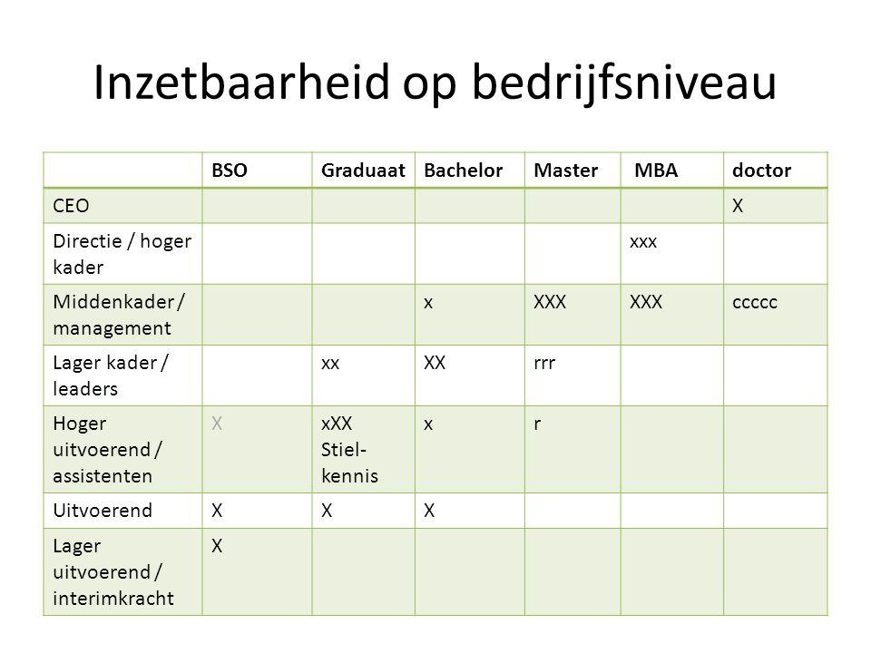 Inzetbaarheid op bedrijfsniveau BSOGraduaatBachelorMaster MBAdoctor CEOX Directie / hoger kader xxx Middenkader / management xXXX ccccc Lager kader /