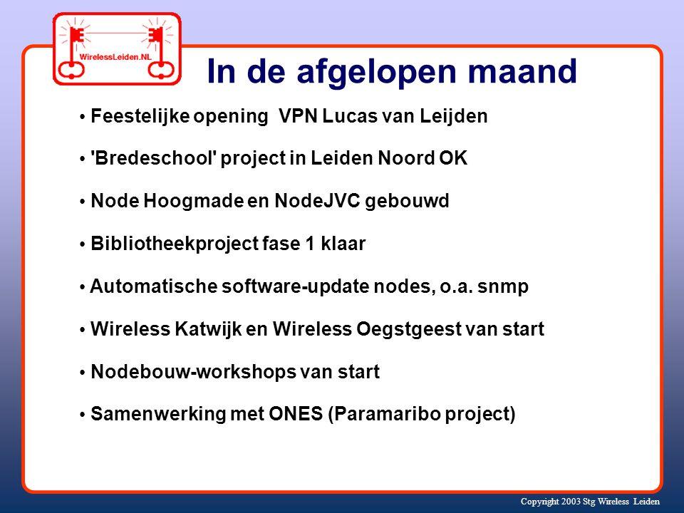 Copyright 2003 Stg Wireless Leiden In de afgelopen maand Feestelijke opening VPN Lucas van Leijden Bredeschool project in Leiden Noord OK Node Hoogmade en NodeJVC gebouwd Bibliotheekproject fase 1 klaar Automatische software-update nodes, o.a.