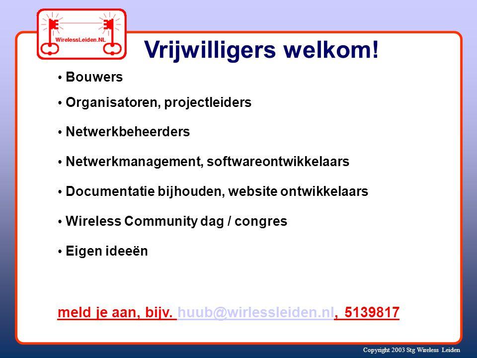 Copyright 2003 Stg Wireless Leiden Vrijwilligers welkom.