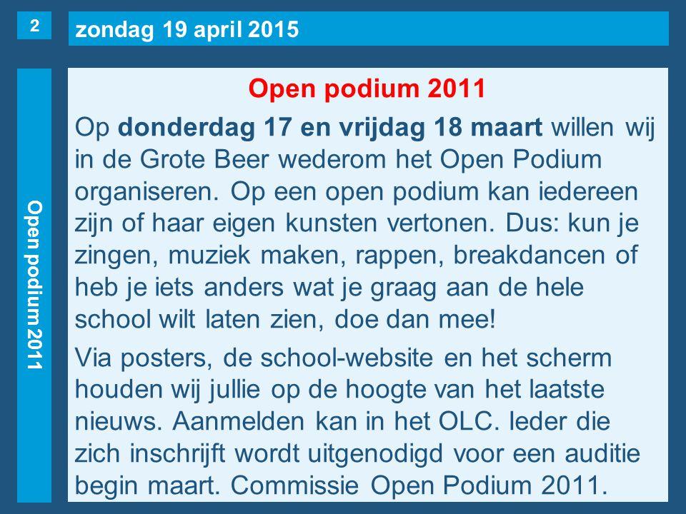zondag 19 april 2015 Roosterwijzigingen Maandag 7 maart 1evrij1KL(Nijmann), 1S(naar 5e), 1U, 2S(naar 3e), 2T, 2X.