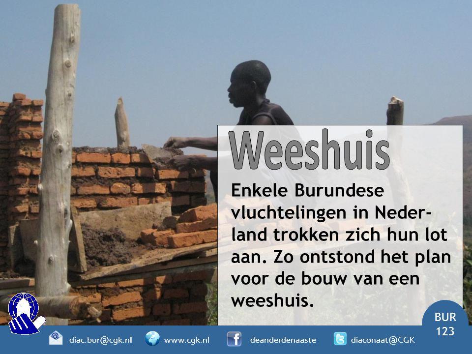 Enkele Burundese vluchtelingen in Neder- land trokken zich hun lot aan. Zo ontstond het plan voor de bouw van een weeshuis. BUR 123 diac.bur@cgk.nl ww